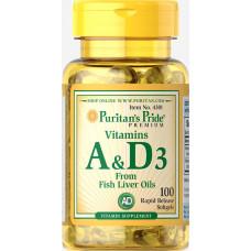 Витамины А и Д  Vitamin A & D  Puritan's Pride, 5000/400 МЕ, 100 капсул пуританс прайд