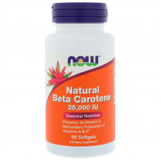 Бета-каротин натуральный Now Foods Beta-Carotene 25 000 МЕ 90 мягких таблеток нау фудс