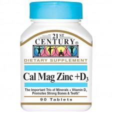 Кальций, магний, цинк + D3 21st Century, 90 таблеток