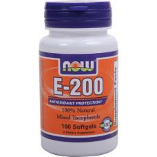 Витамин Е 200 (Vitamin E) Now Foods   (d-альфа токоферол)  100 капс.