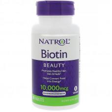 Биотин, Витамин В7  Natrol Biotin 10,000 мкг, 100 таблеток