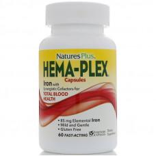 Natures Plus, Hema-Plex, питательная добавка для здорового кровообращения, 60 растительных капсул