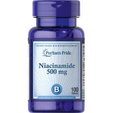 Ниацинамид, витамин В-3, Niacinamide Puritan's Pride, 500 мг, 100 таблеток