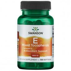 Витамин Е (Vitamin E) токоферолы Tocopherols Swanson Витамин Е 400 ME Mix 100капс.