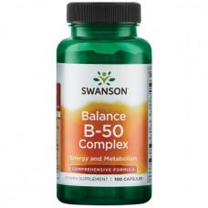 Комплекс витаминов группы В В complex Swanson, Витамин В-50 комплекс (100капс.)