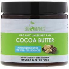 Sky Organics, Масло какао, органическое нерафинированное сырье, 16 унций (454 г)