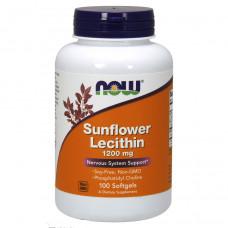 Now Foods, Подсолнечный лецитин, Sunflower Lecithin, 1200 mg, 100 капсул
