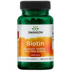 Биотин, Витамин В7 Swanson Biotin  (5000mcg) 100капс.