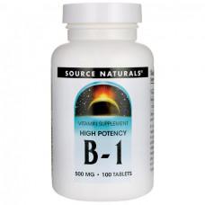 Витамин В1 Vitamin B-1 Тиамин Source Naturals, B-1, High Potency, 500 мг, 100 таблеток