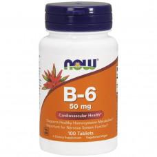 Пиридоксин, Витамин B-6 Now Foods  50 мг, 100 таблеток