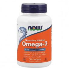Омега 3, OMEGA-3, Now Foods, 100 капсул