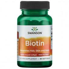 Биотин, Витамин В7 Swanson  Biotin (10000мкг) 60капс.