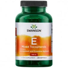Витамин Е (Vitamin E) токоферолы Tocopherols Swanson Витамин Е 400 ME Mix 250капс.
