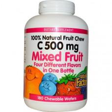 Natural Factors, Витамин C 500 мг 180 жевательных вафель Фруктовый микс
