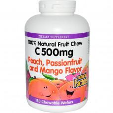 Natural Factors, Витамин C 500 мг 180 жевательных вафель Персика, маракуя и манго
