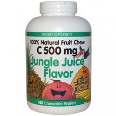 Natural Factors, Витамин C 500 мг 180 жевательных вафель Тропический сок