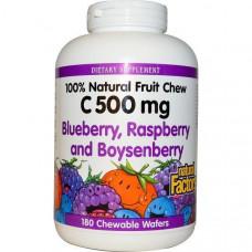 Natural Factors, Витамин C 500 мг 180 жевательных вафель Черника, малина и шелковица