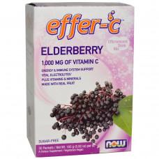 Now Foods, Effer-C, Электролиты, смесь для шипучего напитка 30 пакетиков по 7.5 г Бузина