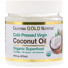 Органическое нерафинированное кокосовое масло холодного отжима, California Gold Nutrition, 473 мл