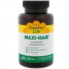 Витамины для волос ногтей Country Life, Maxi Hair, 90 Tablets