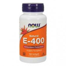 Витамин Е (Vitamin E) Now Foods Витамин E 400 (d-альфа токоферол) 100 капс.