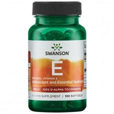 Витамин Е - Натуральный, Vitamin E - Natural, Swanson, 400 МЕ, 100 капсул