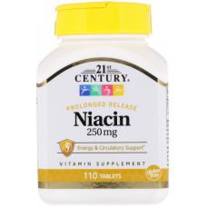 Bитамин Б3  Ниацин Vitamin B3 - Niacin 21st CenturyBитамин В3 250 mg 110 Tablets