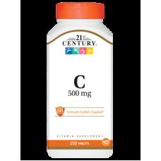 Витамин С 500мг. Vitamin C  21st Century Vitamin C 500mg 250 tabs
