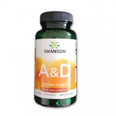 Витамины А и Д3 Vitamin A & D 3 Swanson  1500/10 Мкг (250 капс.)