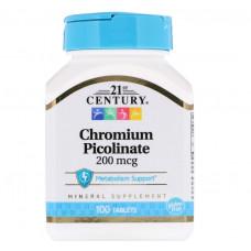 Хром пиколинат 21st Century 200 мкг, 100 таблеток