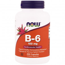 Пиридоксин, Витамин B-6, Now Foods, 100 мг, 100 капсул,