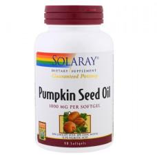 Тыквенное масло, Pumpkin Seed Oil,  Solaray, 1,000 mg, 90 капсул