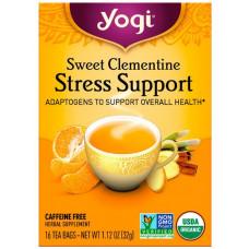 Yogi Tea, Поддержка при стрессе, сладкий клементин, без кофеина, 16 чайных пакетиков, 1,12 унции (32 г)