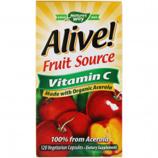 Natures Way, Alive!, фруктовый источник, витамин C, 120 вегетарианских капсул