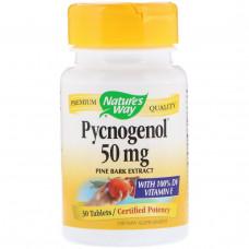 Natures Way, Пикногенол, экстракт сосновой коры, 50 мг, 30 таблеток