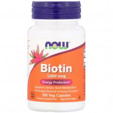 Биотин, Витамин В7  Now Foods  Biotin (1000 мкг) 100 капс