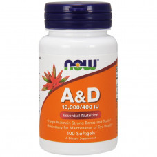 Витамин А/Д3 10,000/400МЕ Now Foods Vitamin A & D (100капс.)   нау фудс