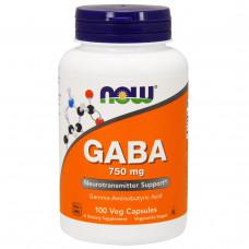 Now Foods, ГАМК, 750 мг, 100 капсул в растительной оболочке