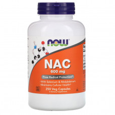 Now Foods, N-ацетил-цистеин, 600 мг, 250 вегетарианских капсул
