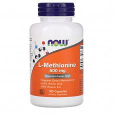 Now Foods, L-метионин, 500 мг, 100 капсул