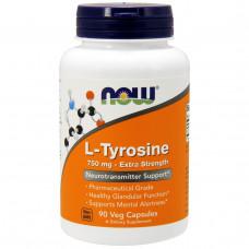 Now Foods, L-тирозин, Высокоэффективное средство, 750 мг, 90 капсул