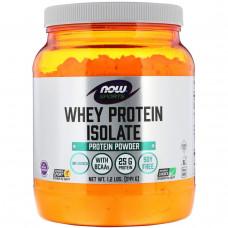 Now Foods, Спорт, изолят сывороточного протеина, порошок, натуральный, без ароматизаторов, 1,2 фунта (544 г)
