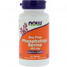 Now Foods, Фосфатидилсерин, без сои, 150 мг, 60 таблеток