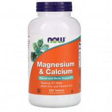 Магний и кальций Now Foods, 250 таблеток