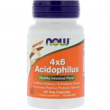 Ацидофилус  4x6 Acidophilus, Now Foods, 60 капсул