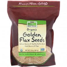 Now Foods, Real Food, Семена сертифицированного органического белого льна, 907 г