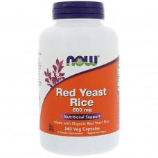 Now Foods, Красный ферментированный рис, 600 мг, 240 капсул в растительной оболочке