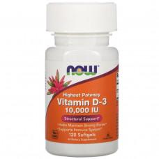Витамин Д3  Vitamin D-3 Now Foods 10 000 МЕ, 120 желатиновых капсул
