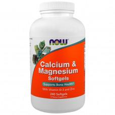 Комплекс кальция и магния Now Foods, 240 гелевых капсул