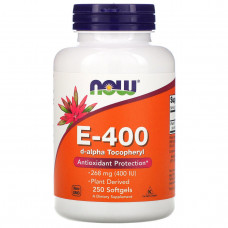 Витамин Е (Vitamin E) E-400, Now Foods 100% Натуральный d-альфа токоферол,, 250 капсул